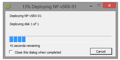 vSRX - Deploying the appliance